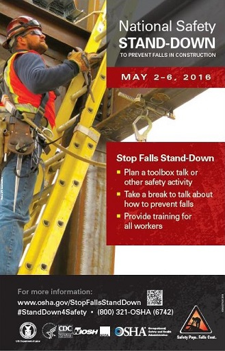 National Safety Stand-Down to Prevent Falls in Construction: May 2-6, 2016. Stop Falls Stand-Down: Plan toolbox talk or other safety activity. Take break to talk about how to prevent falls. Provide training for all workers. For more information: www.osha.gov/StopFallsStandDown #StandDown4Safety 800-321-6742