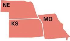 Kansas, Missouri and Nebraska