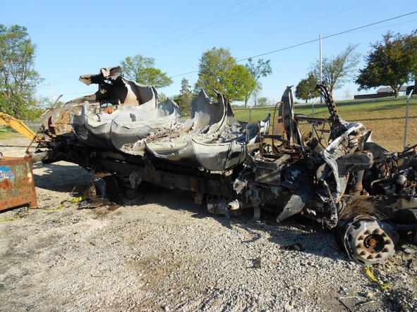 Burned out hull of a tanker truck.