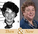 """Side-by-side photos of Anne Aylward, """"then and now""""; one from years ago and one modern."""