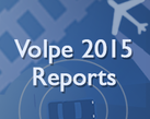 Volpe 2015 Reports text with graphics of a plane, car, and train tracks.