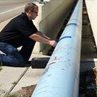 Man testing pipeline.