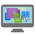 A graphic of a computer with various colored article, document, and book icons on the screen.