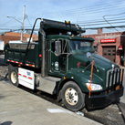 A truck outfitted with sideguards in new york.