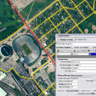 A screenshot of Roadsoft software, showing an aerial map with a pop-out data box.