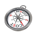 "A compass with the words ""cost"" and ""benefit"" on it."