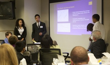 middle school students presenting research