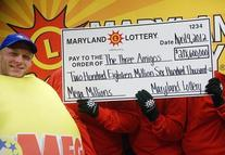 three people holding up lottery check and one lottery ball character