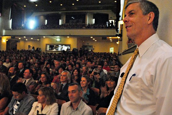 Arne Duncan at bus tour event in California