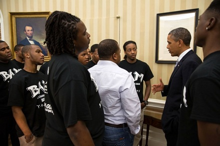 President Barack Obama talks with students from the Becoming A Man (BAM) program