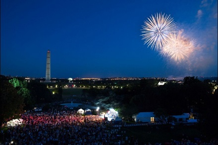 A view of the fireworks over the South Lawn during the Fourth of July celebration at the White House, July 4, 2013