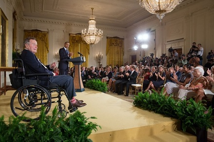 President Barack Obama, with former President George H. W. Bush, delivers remarks before they present the 5,000th Daily Point of Light Award to Outrea