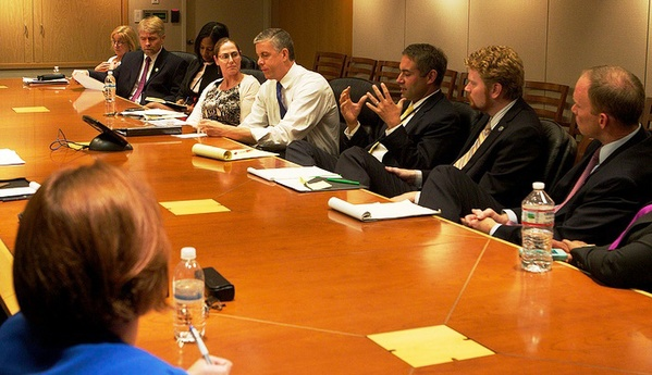 Arne Duncan meeting with Teaching Ambassador Fellows in August of 2013