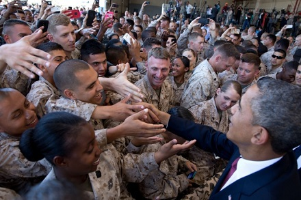 President Barack Obama shakes hands with troops at Camp Pendleton, Calif., Aug. 7, 2013.