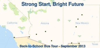 Route for ED Back to School Bus Tour