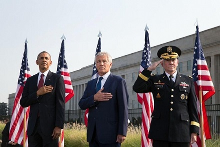 President Obama, Secretary of Defense Chuck Hagel, and General Dempsey attend the September 11th Observance Ceremony at the Pentagon Memorial in Arlin