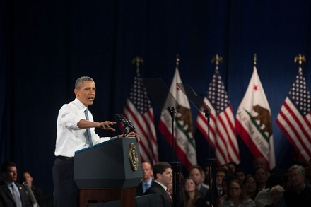 President Barack Obama delivers remarks on immigration, at the Betty Ann Ong Chinese Recreation Center in San Francisco, Calif., Nov. 25, 2013. (Offic