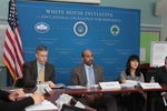 Arne Duncan and WHIEEH staff at roundtable