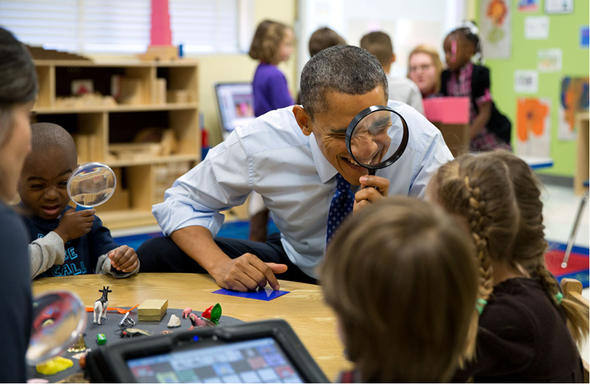 President Obama and students