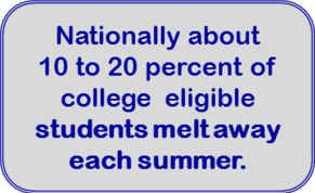 Nationally about  10 to 20 percent of college  eligible  students melt away each summer.