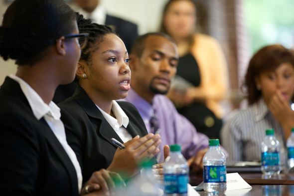 discussion with students at Spelman College