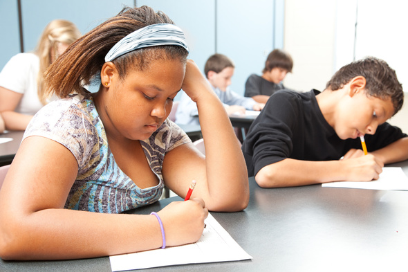 photo of students taking a test
