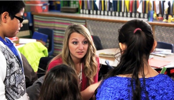 screen shot of teacher interacting with students