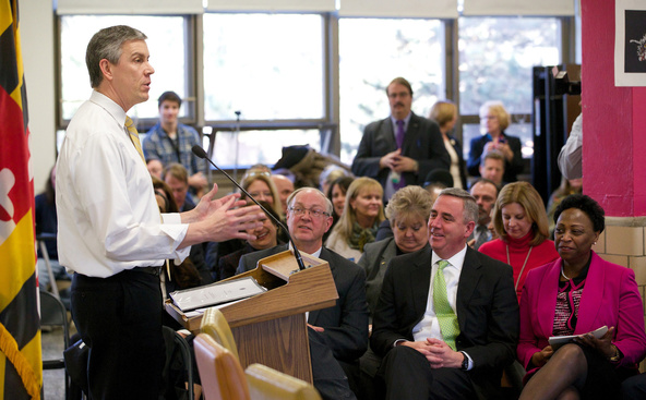 Arne Duncan with educators and parents