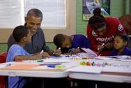 President and children in class