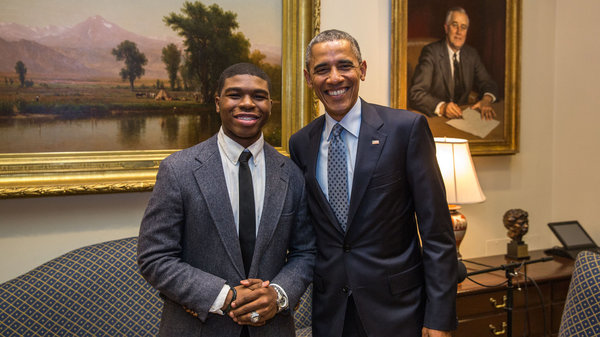 Noah McQueen with President Obama