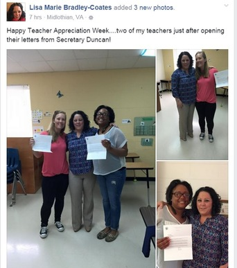 Facebook page showing teachers holding up letters from Secretary Duncan