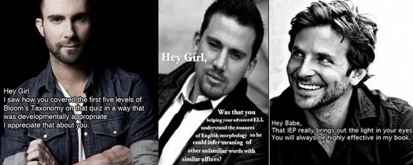 photos of three male celebrities complimenting teachers for their acumen in the classroom