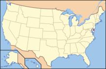 US map highlighting Delaware