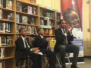 David Johns at school with authors