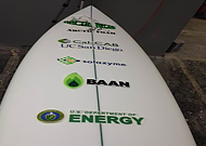 Algae Surfboard with DOE logo