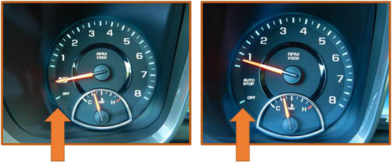 Indicators of start-stop technology in a 2015 Chevrolet Malibu