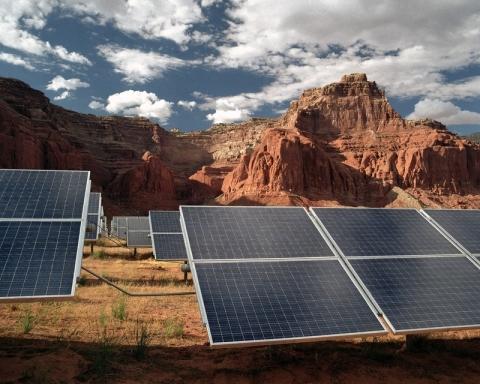 photo of solar panels in desert