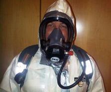Paul Lemieux wearing personal protective equipment
