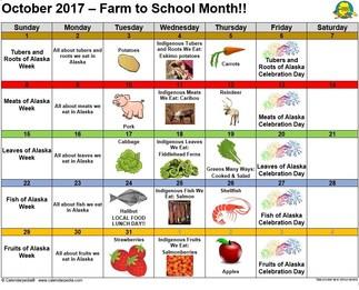 Alaska Farm to School Calendar