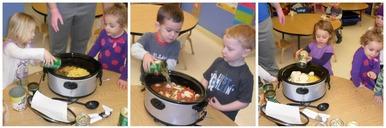 kids making soup