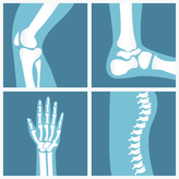Illustration of knee, ankle, hand, and spine