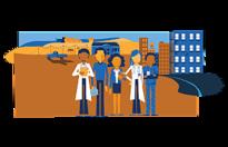 stock clipart of five medical professionals