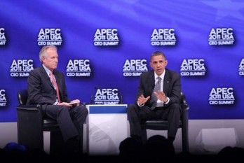 President Obama and Boeing CEO James McNerney Jr at APEC 2011 CEO Summit