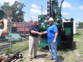 CEO of Ambient Technologies Carlos Lemos (left) helping to drill a new Panama canal.