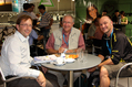 Gerd Klose, Managing Director of DeFeet's distributor in Germany Lynn Moretz, VP International Sales and Shane Cooper, founder of DeFeet at Eurobike