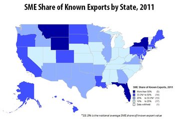 In five states, Small- and Medium-sized Enterprises produce more than 50 percent of known exports for the state.