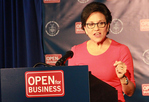 Secretary Pritzker discusses Commerce's Open for Business agenda from podium.
