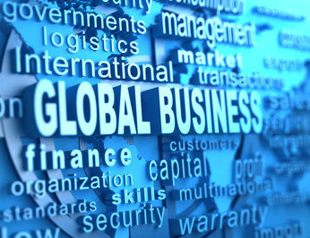 graphic with the phrase global business