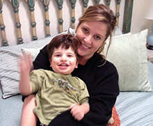 Woman and her son, who was diagnosed with a rare genetic disorder.