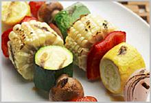 Grilled vegetable kabobs.